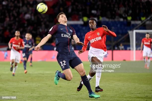Thomas Meunier of Paris Saint Germain Jemerson of AS Monaco during the French League 1 match between Paris Saint Germain v AS Monaco at the Parc des...