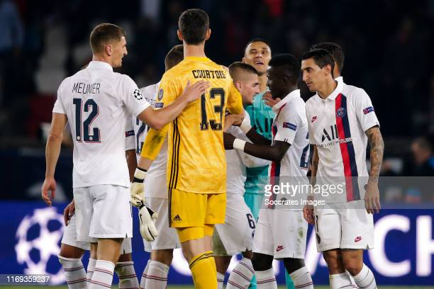 Thomas Meunier of Paris Saint Germain Thibaut Courtois of Real Madrid Keylor Navas of Paris Saint Germain Angel Di Maria of Paris Saint Germain...