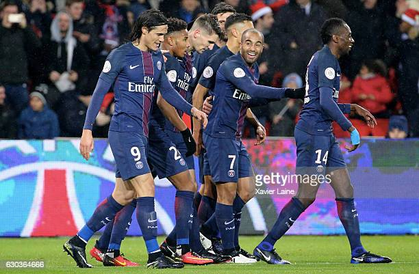 Thomas Meunier of Paris Saint-Germain celebrates his goal with teammates during the French Ligue 1 match between Paris Saint-Germain and FC Lorient...