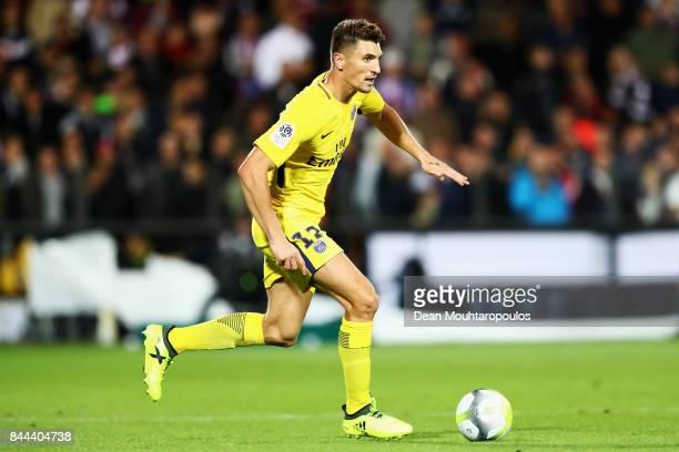 Thomas Meunier of Paris SaintGermain Football Club or PSG in action during the Ligue 1 match between Metz and Paris Saint Germain or PSG held at...