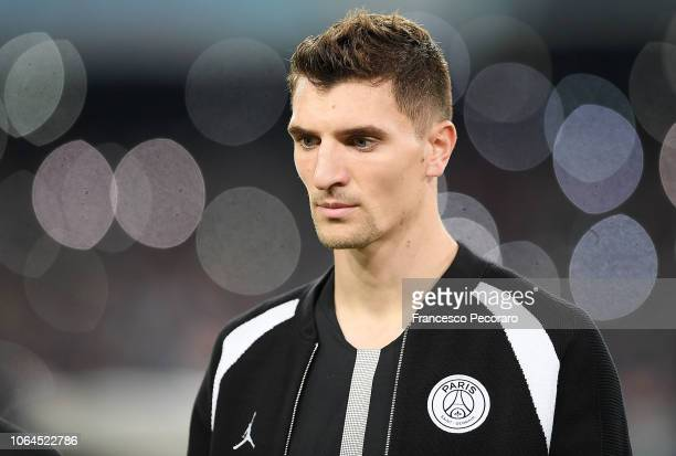 Thomas Meunier of Paris Saint-Germain in action during the Group C match of the UEFA Champions League between SSC Napoli and Paris Saint-Germain at...