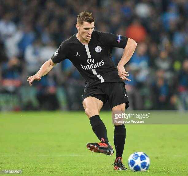 Thomas Meunier of Paris SaintGermain in action during the Group C match of the UEFA Champions League between SSC Napoli and Paris SaintGermain at...