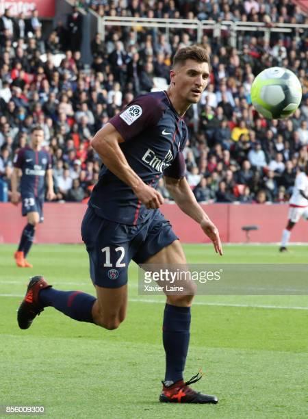Thomas Meunier of Paris SaintGermain in action during the Ligue 1 match between Paris SaintGermain and FC Girondins de Bordeaux at Parc des Princes...