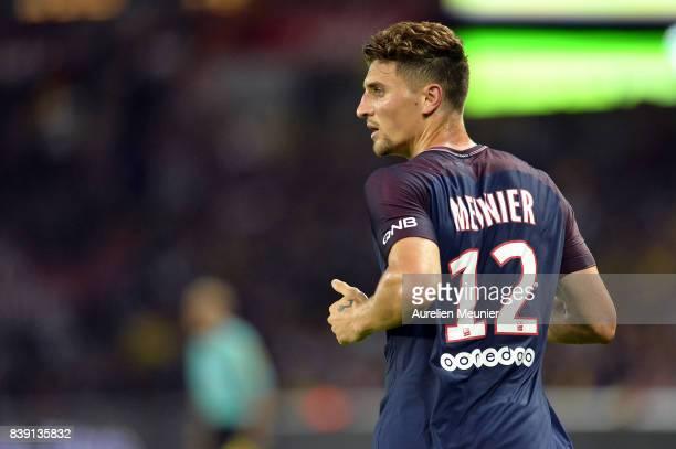 Thomas Meunier of Paris SaintGermain reacts during the Ligue 1 match between Paris SaintGermain ans AS SaintEtienne at Parc des Princes on August 25...