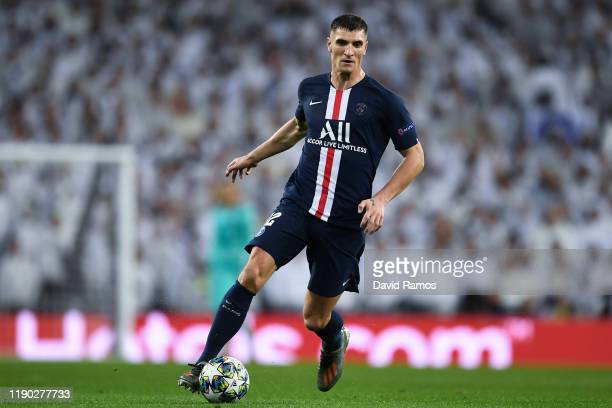 Thomas Meunier of Paris Saint-Germain runs with the ball during the UEFA Champions League group A match between Real Madrid and Paris Saint-Germain...