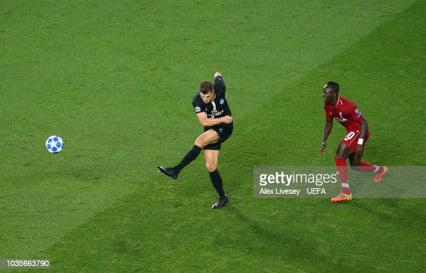 Thomas Meunier of Paris Saint-Germain scores their first goal during the Group C match of the UEFA Champions League between Liverpool and Paris...
