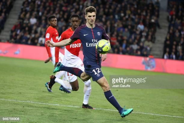 Thomas Meunier of PSG Adama Diakhaby of Monaco during the Ligue 1 match between Paris Saint Germain and AS Monaco at Parc des Princes stadium on...