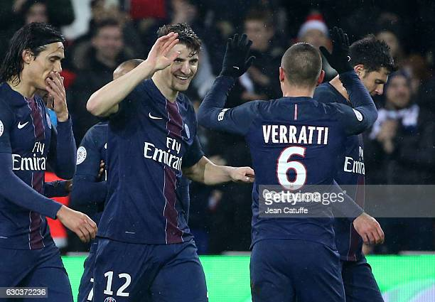 Thomas Meunier of PSG celebrates his goal with Marco Verratti during the French Ligue 1 match between Paris Saint-Germain and FC Lorient at Parc des...