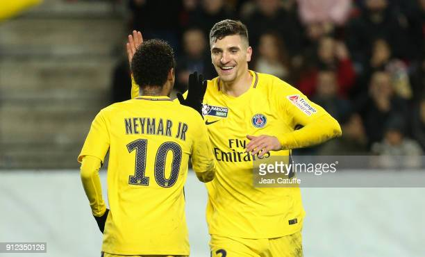 Thomas Meunier of PSG celebrates his goal with Neymar Jr during the French League Cup match between Stade Rennais and Paris Saint Germain at Roazhon...