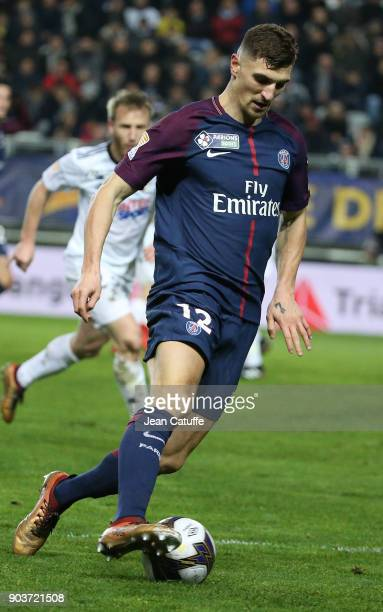 Thomas Meunier of PSG during the French League Cup match between Amiens SC and Paris Saint Germain at Stade de la Licorne on January 10 2018 in...