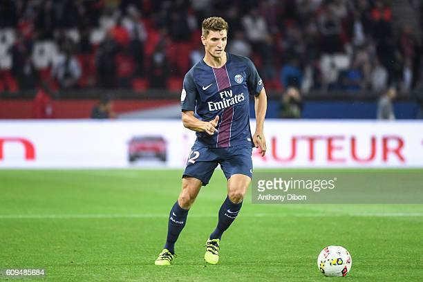Thomas Meunier of PSG during the French Ligue 1 game between Paris SaintGermain and Dijon FCO at Parc des Princes on September 21 2016 in Paris France
