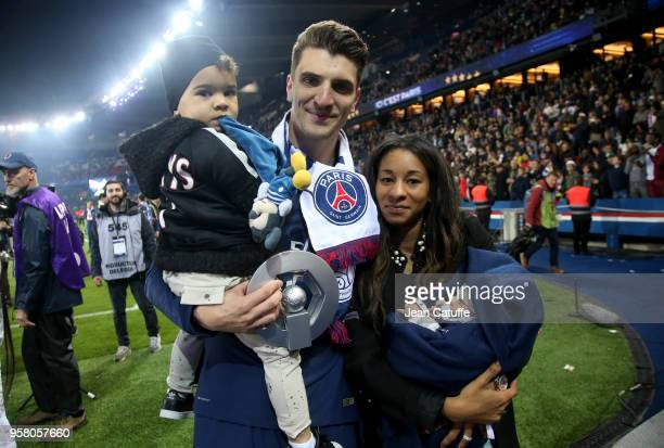 Thomas Meunier of PSG his partner Deborah Panzokou and their son Landrys Meunier and their newborn during the French Ligue 1 Championship Trophy...