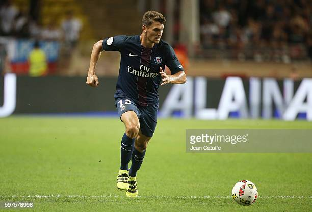 Thomas Meunier of PSG in action during the French Ligue 1 match between AS Monaco and Paris SaintGermain at Stade Louis II on August 28 2016 in...