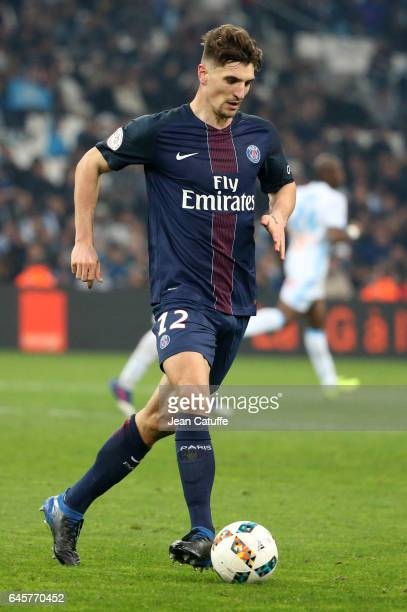 Thomas Meunier of PSG in action during the French Ligue 1 match between Olympique de Marseille and Paris Saint Germain at Stade Velodrome on February...