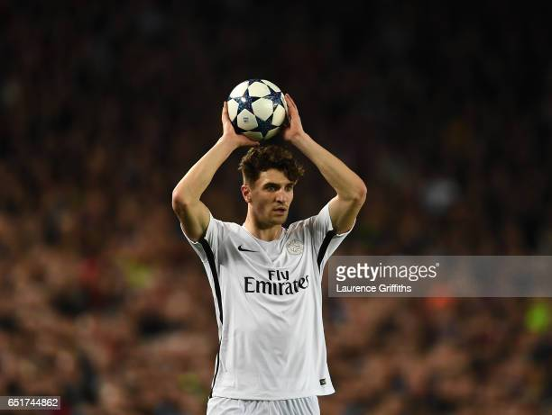Thomas Meunier of PSG in action during the UEFA Champions League Round of 16 second leg match between FC Barcelona and Paris SaintGermain at Camp Nou...