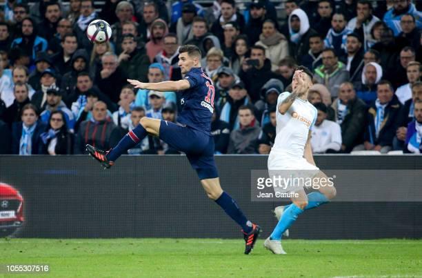 Thomas Meunier of PSG Lucas Ocampos of Marseille during the french Ligue 1 match between Olympique de Marseille and Paris SaintGermain at Stade...