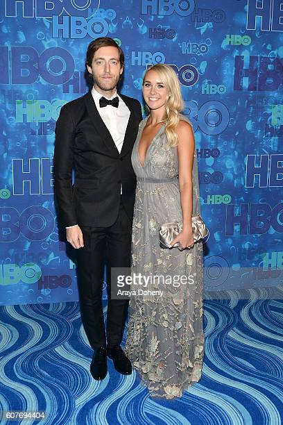 Thomas Middleditch and Mollie Gates attend HBO's Post Emmy Awards Reception at The Plaza at the Pacific Design Center on September 18 2016 in Los...