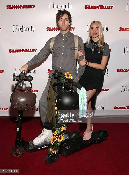 Thomas Middleditch and Mollie Gates attend the red carpet for a premiere of Scene 308 of HBO's Silicon Valley at Cinefamily on March 25 2016 in Los...