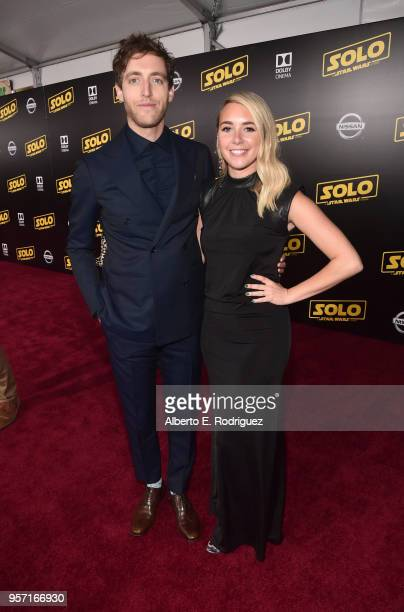 "Thomas Middleditch and Mollie Gates attend the world premiere of ""Solo A Star Wars Story"" in Hollywood on May 10 2018"