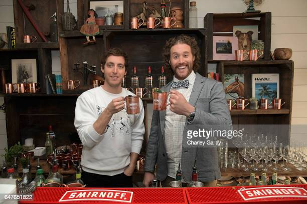 Thomas Middleditch and TJ Miller toast Smirnoff Moscow Mules to the first official National Moscow Mule Day at Fairmont Miramar Hotel on March 3 2017...