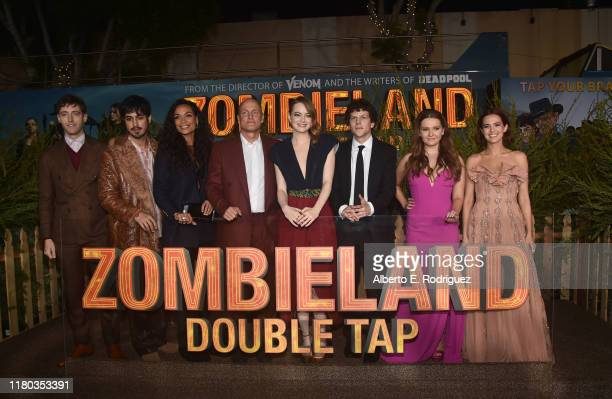 Thomas Middleditch Avan Jogia Rosario Dawson Woody Harrelson Emma Stone Jesse Eisenberg Abigail Breslin and Zoey Deutch attend the premiere of Sony...