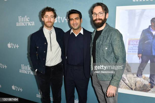 "Thomas Middleditch, Kumail Nanjiani and Martin Starr attend the premiere of Apple TV+'s ""Little America"" at Pacific Design Center on January 23, 2020..."