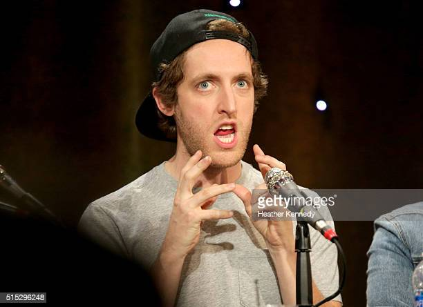 Thomas Middleditch speaks onstage at HarmonQuest during the 2016 SXSW Music Film Interactive Festival at Esther's Follies on March 12 2016 in Austin...