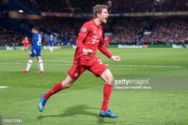 Thomas Müller of Bayern Muenchen celebrate after hes team score 2nd goal during the UEFA Champions League round of 16 first leg match between Chelsea...