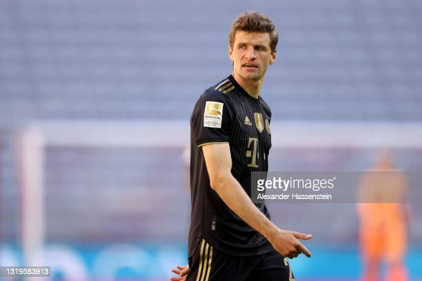 Thomas Müller of FC Bayern München looks on during the Bundesliga match between FC Bayern Muenchen and FC Augsburg at Allianz Arena on May 22, 2021...