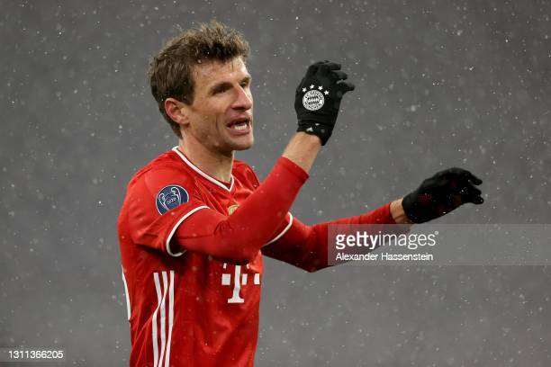 Thomas Müller of FC Bayern München reacts during the UEFA Champions League Quarter Final match between FC Bayern Munich and Paris Saint-Germain at...
