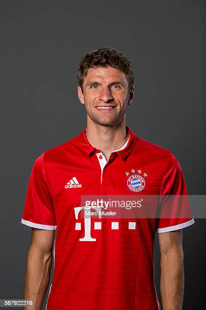 Thomas Mller of FC Bayern Munich pose during the team presentation on August 10 2016 in Munich Germany