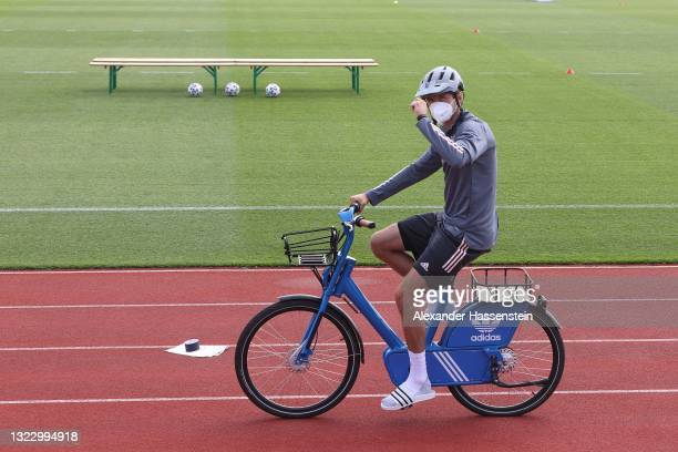 Thomas Müller of Germany arrives for the team Germany team photo at Herzo-Base Camp Herzogenaurach on June 11, 2021 in Herzogenaurach, Germany.