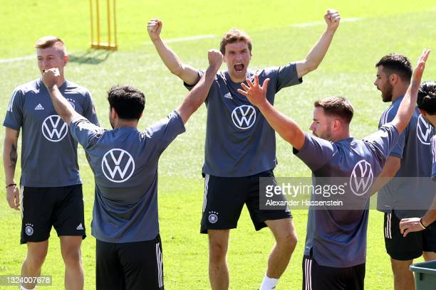 Thomas Müller of Germany reacts during a training session of team Germany at the team Germany EURO2020 training camp at Herzo-Base on June 17, 2021...
