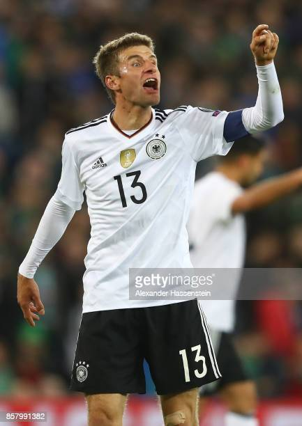 Thomas Mller of Germany reacts during the FIFA 2018 World Cup Qualifier between Northern Ireland and Germany at Windsor Park on October 5 2017 in...