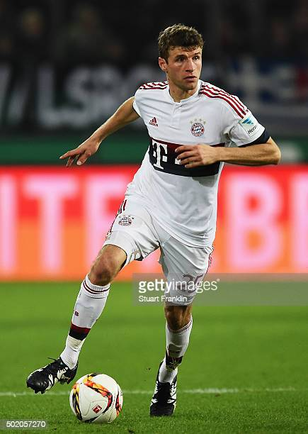 Thomas Müller of Muenchen in action during the Bundesliga match between Hannover 96 and FC Bayern Muenchen at HDIArena on December 19 2015 in Hanover...