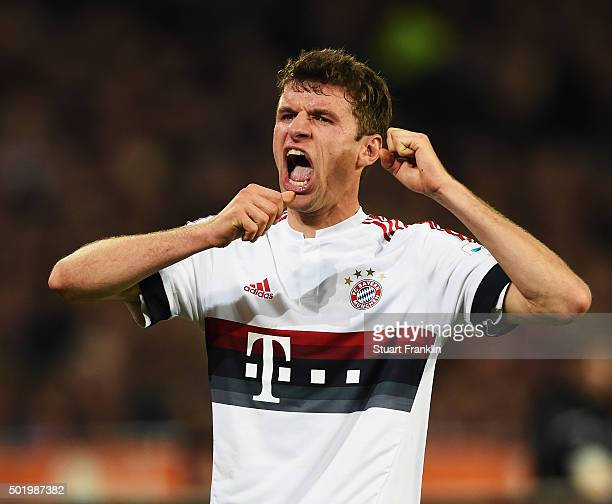 Thomas Müller of Muenchen reacts during the Bundesliga match between Hannover 96 and FC Bayern Muenchen at HDIArena on December 19 2015 in Hanover...