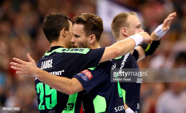 Thomas Mogensen of Flensburg Handewitt celebrates after the Velux EHF Champions League round of 16 second leg match between SG Flensburg Handewitt...