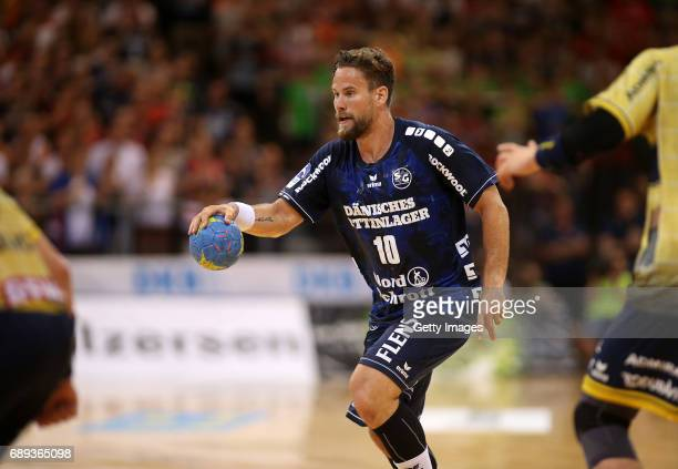 Thomas Mogensen of SG Flensburg Handewitt is seen during the Game SG Flensburg Handewitt v Rhein Neckar Loewen at FlensArena on May 28 2017 in...