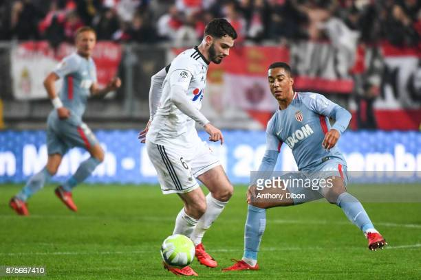 Thomas Monconduit of Amiens and Youri Tielemans of Monaco during the Ligue 1 match between Amiens SC and AS Monaco at Stade de la Licorne on November...