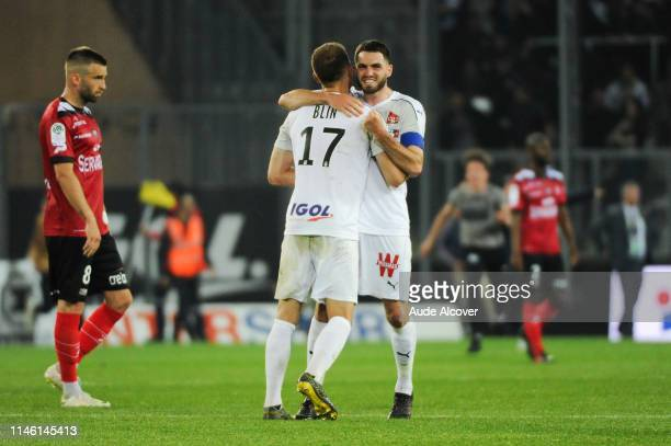 Thomas Monconduit of Amiens celebrates victory during the Ligue 1 match between Amiens Sporting Club and EA Guingamp on May 24 2019 in Amiens France