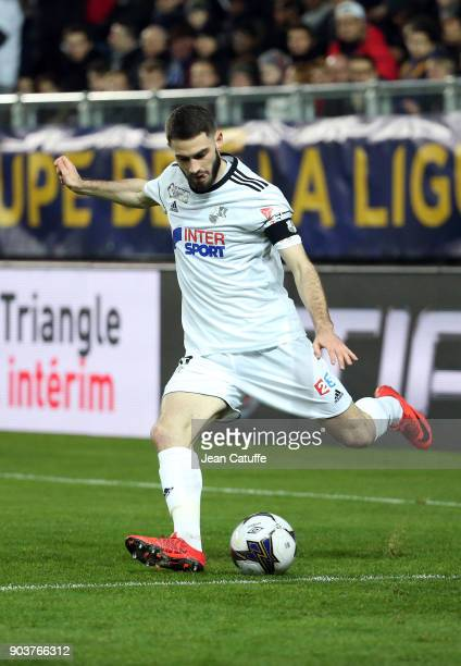 Thomas Monconduit of Amiens during the French League Cup match between Amiens SC and Paris Saint Germain at Stade de la Licorne on January 10 2018 in...