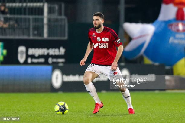Thomas Monconduit of Amiens during the Ligue 1 match between Angers SCO and Amiens SC at Stade Raymond Kopa on January 27 2018 in Angers