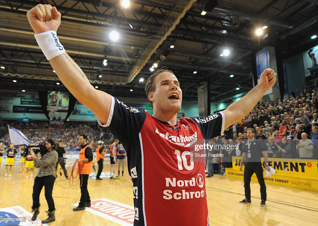 Thomas Morgensen of Flensburg celebrates at the end of the DHB cup game between SG Flensburg Handewitt and Rhein-Neckar Loewen at the Flens Arena on February 5, 2013 in Flensburg, Germany.
