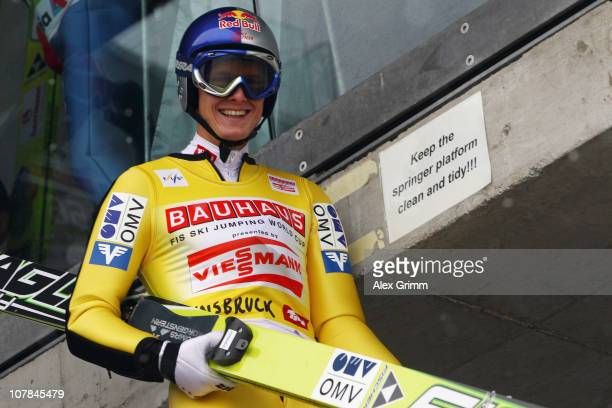 Thomas Morgenstern of Austria arrives for the training for the FIS Ski Jumping World Cup event of the 59th Four Hills ski jumping tournament at...