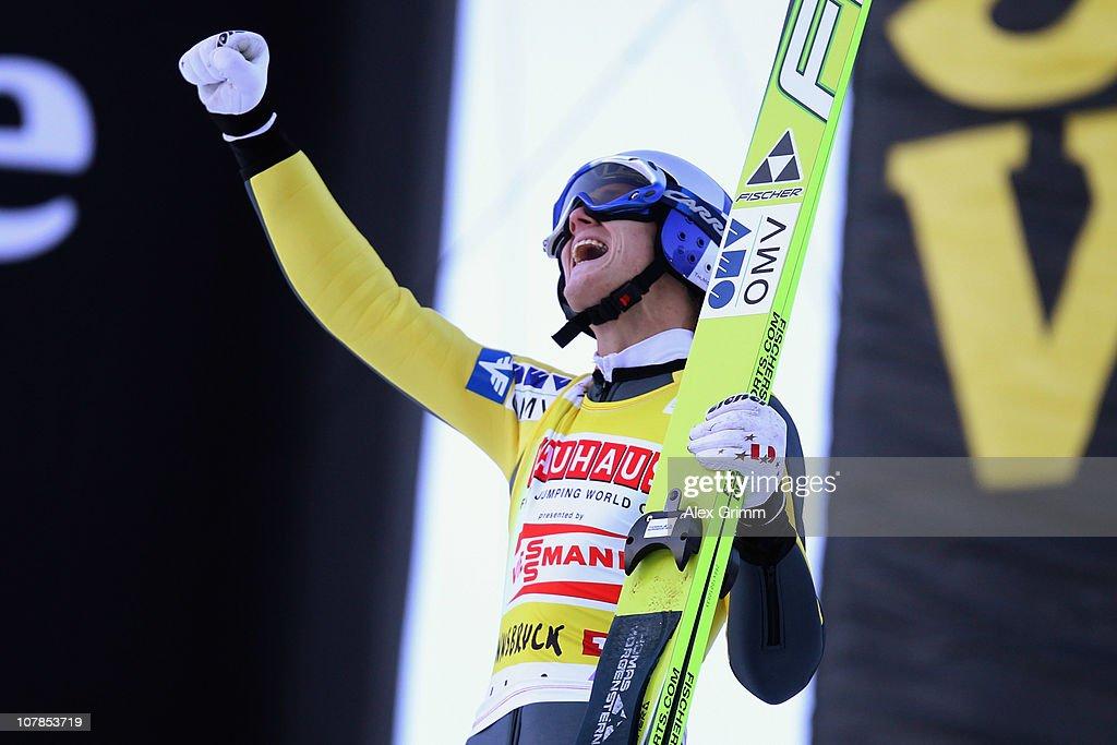 Thomas Morgenstern of Austria celebrates after his second jump during the FIS Ski Jumping World Cup event of the 59th Four Hills ski jumping tournament at Bergisel on January 3, 2011 in Innsbruck, Austria.