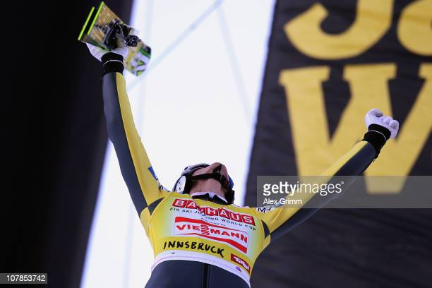 Thomas Morgenstern of Austria celebrates after his second jump during the FIS Ski Jumping World Cup event of the 59th Four Hills ski jumping...