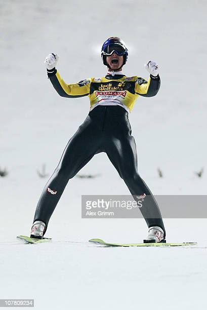 Thomas Morgenstern of Austria celebrates after the final round of the FIS Ski Jumping World Cup event at the 59th Four Hills ski jumping tournament...