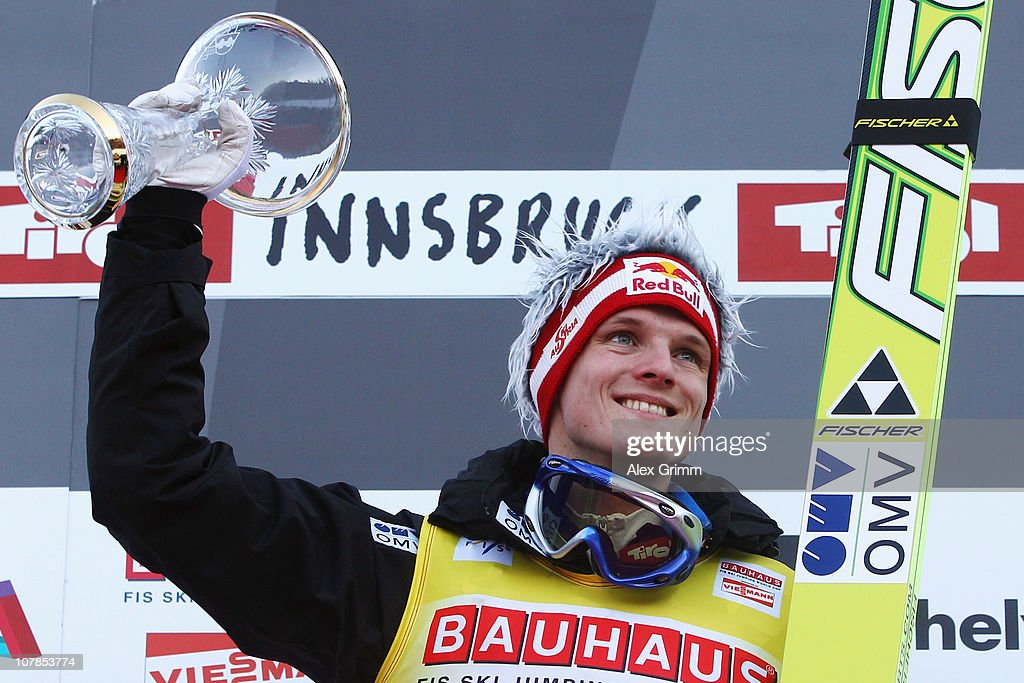 Thomas Morgenstern of Austria celebrates after winning the FIS Ski Jumping World Cup event of the 59th Four Hills ski jumping tournament at Bergisel on January 3, 2011 in Innsbruck, Austria.