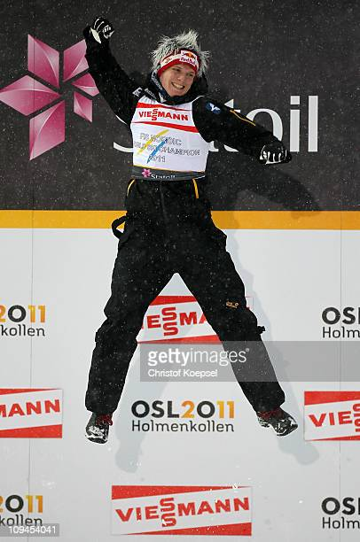 Thomas Morgenstern of Austria celebrates after winning the gold medal in the Men's Ski Jumping HS106 competition during the FIS Nordic World Ski...