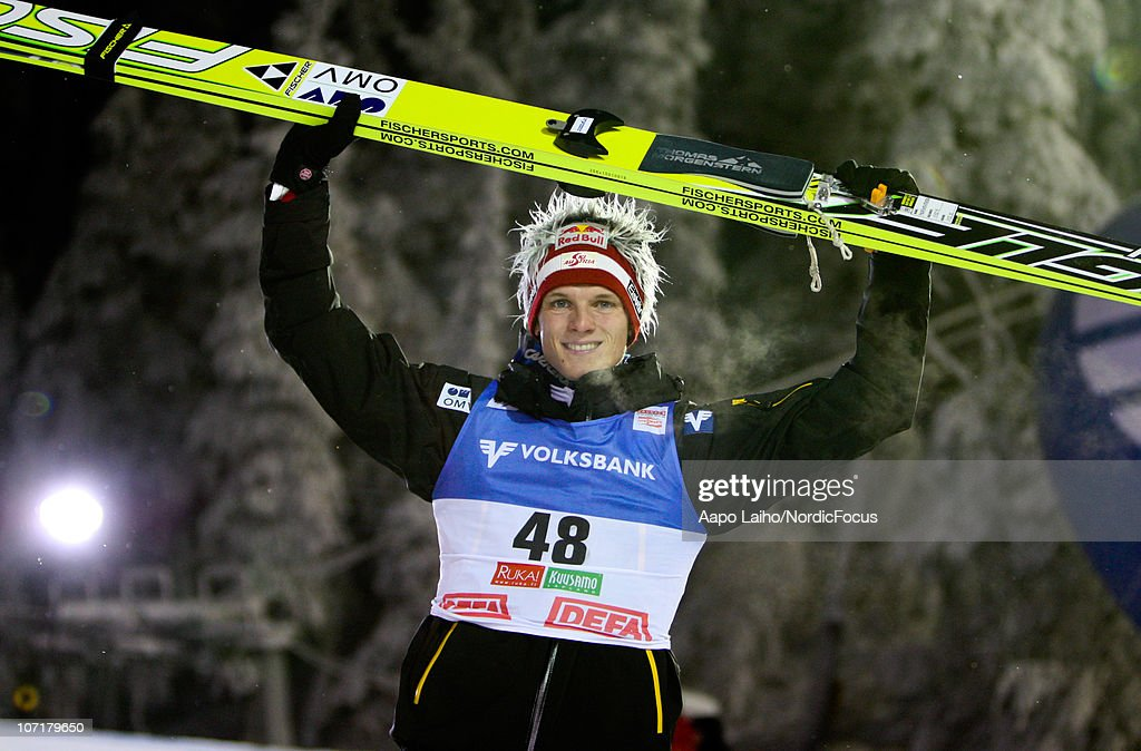 Thomas Morgenstern of Austria celebrates his second place in the individual HS142 during the FIS Ski Jumping World Cup on November 28, 2010, in Kuusamo, Finland.